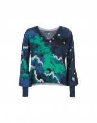 DAZZLE: Cloud printed V-neck sweater