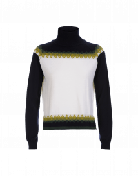 CONFRONT: Navy and cream turtleneck sweater with green pattern