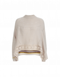 ONESELF: Beige raised knit sweater with crochet lace