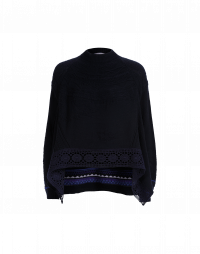 ONESELF: Navy raised knit sweater with crochet lace