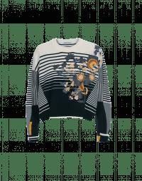 PEACEFUL: Multi-stripe sweater with flock floral