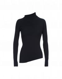 TILT: Navy ribbed skinny-fit turtle neck