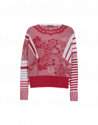 DECORATE: Red and white curlicue and stripe cotton sweater