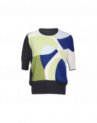 ABSTRACT: Maglia a maniche corte con motivo astratto multicolore