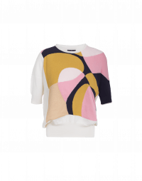 ABSTRACT: Short sleeved sweater in cream, pink, navy and gold