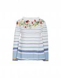 HARMONIC: Cream and blue stripe sweater with floral
