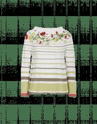 HARMONIC: Maglia a righe bianche e verdi con motivo floreale