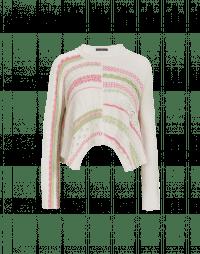 INFINITUDE: Ecru, pink and green cotton knit sweater