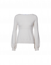 AMIABLE: Ivory wide neck sweater with bishop sleeve