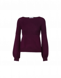AMIABLE: Purple wide neck sweater with bishop sleeve