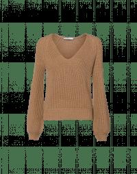 CHARMER: V-neck sweater in brown rib
