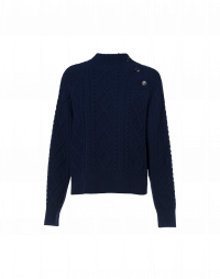 IN JEST: Navy multi-cable sweater with shoulder buttons