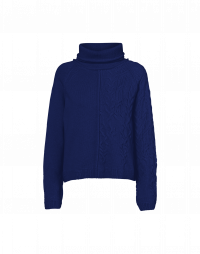 TRUSTING: Square-cut roll neck sweater in navy wool blend