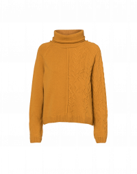 TRUSTING: Square-cut roll neck sweater in yellow wool blend