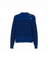 IDENTITY: Maritime stripe sweater with button neck