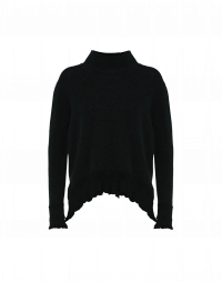 SOOTHE: Black funnel neck flared sweater