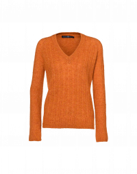 SELF-AFFIRM: V-neck cable sweater in orange wool and alpaca