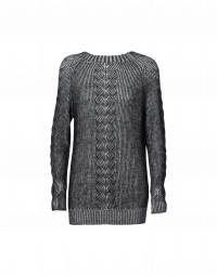 PASSIONATE: Black and ivory fine wool mohair sweater