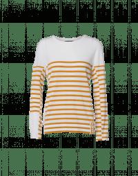 HARMONIZE: Ivory wool crewneck sweater with yellow ochre stripes