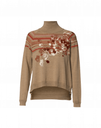 FLEURET: Turtle neck sweater with raised stripe and floral print
