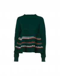 ATTRACTION: Green multi-stitch and pattern wool sweater