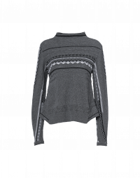 PUZZLE: Grey multi-stitch and pattern wool sweater