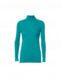 HIDEAWAY: Plain and rib knit roll neck in turquoise wool and cotton mix