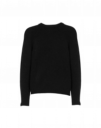 PLAYER: Black tech-knit crew neck sweater