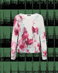 ENCHANTING: Maglia con stampa acquerello floreale verde menta e rosa