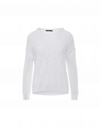 CATCH-UP: Multi stitch sweater in white cotton mix