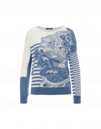REMARKABLE: Blue and ivory sweater with stripes and oversize paisley