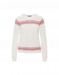 ON-POINT: Ivory and red sweater with raised 3D geometric patterns