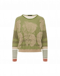 VISUALIZE: Green, beige and ivory floral and stripe sweater