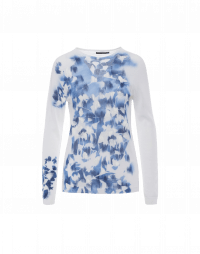 BRILLIANT: Ultra light sweater in white with blue