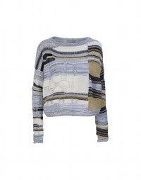 FLOTSAM: Top squadrato in maglia patchwork
