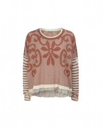 MARINA: Terracotta stripe and curlicue knit sweater
