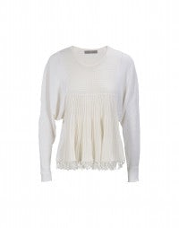 SPINNEKER: Plain and rib knit batwing swing out top
