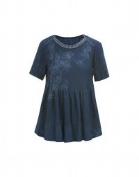 CERULE: Indigo flower print linen and knit top