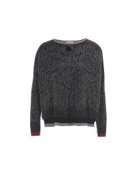 BOYAR: Grey and black paisley with red sweater