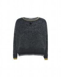 BOYAR: Navy and grey paisley with mustard sweater