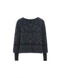 PLUSH: Blue on blue flock banded neck knit