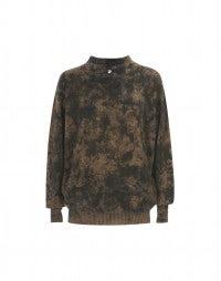 LICHEN: Artisanal mustard camouflage print knit