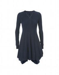 ISADORA: Petrol blue wool blend fine rib dress