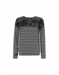 ARBOUR: Sailor stripe and flock print knit