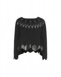 GRAPHIC: Black metallic and flock print sweater