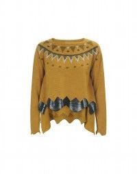 GRAPHIC: Mustard metallic and flock print sweater