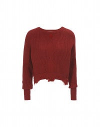 CITRINE: Red cropped sweater with double hem