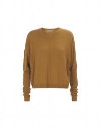CARBON: Maglia a V caramello in cashmere, lana e seta