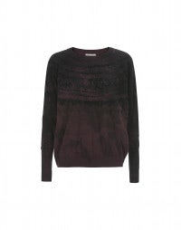 METAPHOR: Mulberry-to-black flock print knit