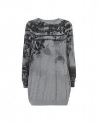 ALLUSION: Silver grey long-line sweater with print placements